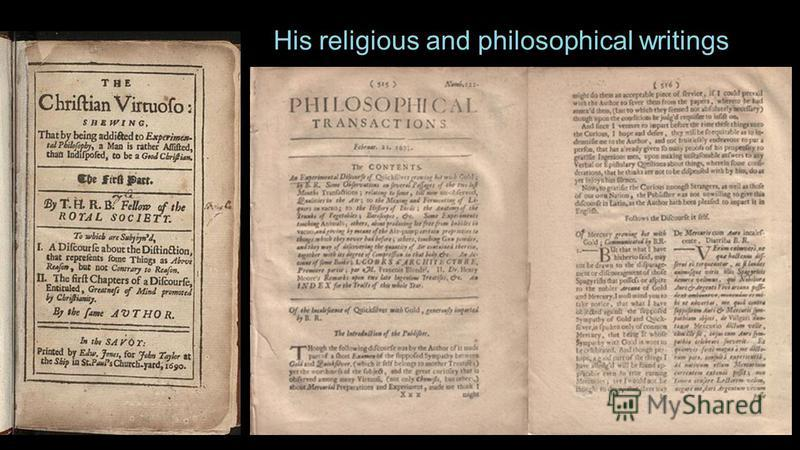 His religious and philosophical writings