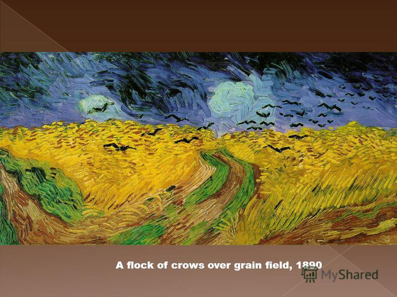 A flock of crows over grain field, 1890