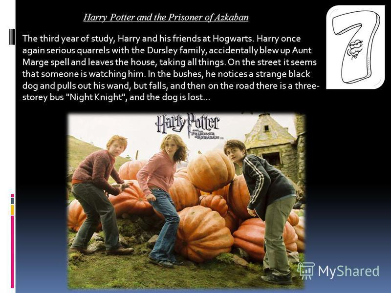 The third year of study, Harry and his friends at Hogwarts. Harry once again serious quarrels with the Dursley family, accidentally blew up Aunt Marge spell and leaves the house, taking all things. On the street it seems that someone is watching him.