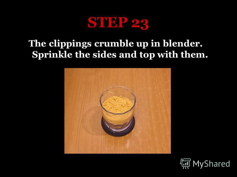 STEP 23 The clippings crumble up in blender. Sprinkle the sides and top with them.