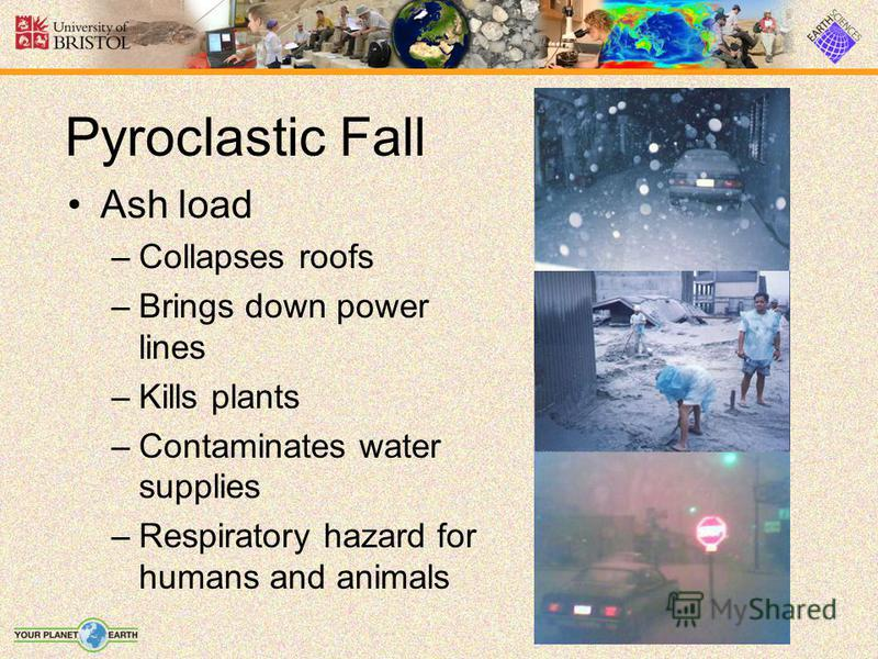 Pyroclastic Fall Ash load –Collapses roofs –Brings down power lines –Kills plants –Contaminates water supplies –Respiratory hazard for humans and animals