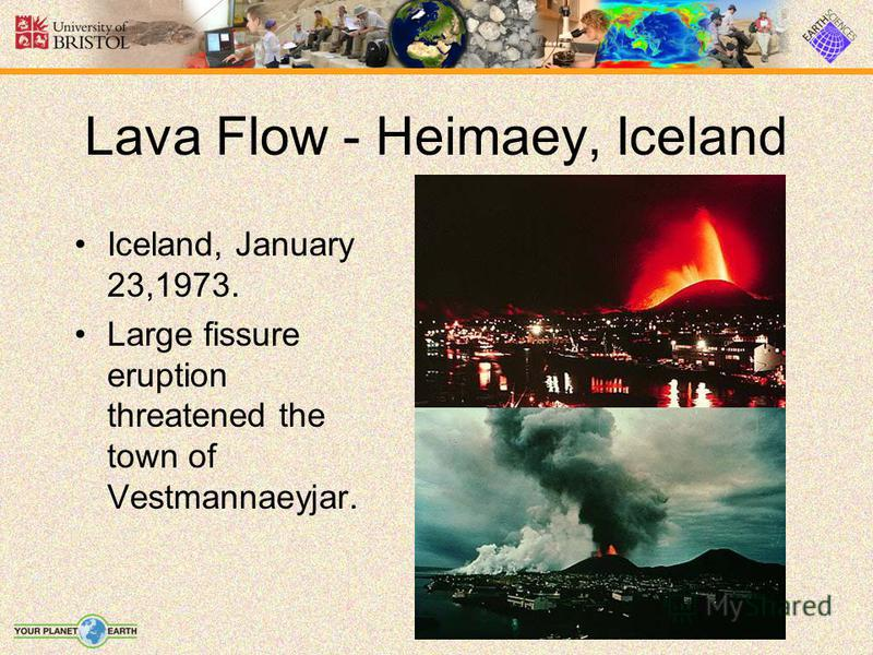 Lava Flow - Heimaey, Iceland Iceland, January 23,1973. Large fissure eruption threatened the town of Vestmannaeyjar.