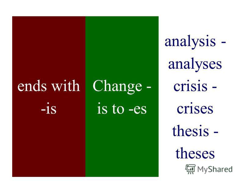 ends with -is Change - is to -es analysis - analyses crisis - crises thesis - theses