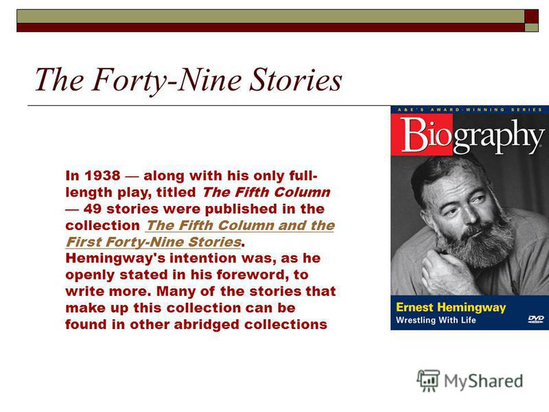 a biography of ernest hemingway an american novelist short story writer and journalist Ernest miller hemingway was an american author and journalist his economical and understated style had a strong influence on 20th-century fiction, while his life of adventure and his public image influenced later generations hemingway produced most of his work between the mid-1920s and the mid-1950s, and won the nobel prize in literature in 1954.