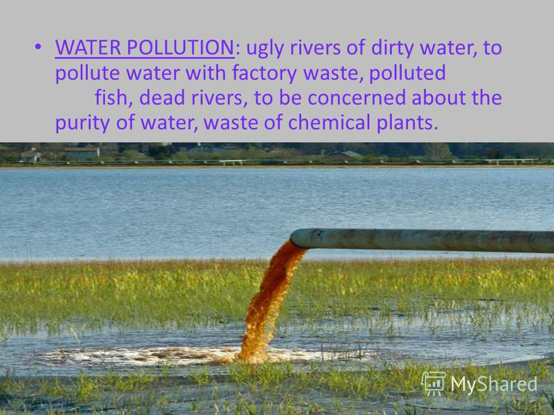 WATER POLLUTION: ugly rivers of dirty water, to pollute water with factory waste, polluted fish, dead rivers, to be concerned about the purity of water, waste of chemical plants.
