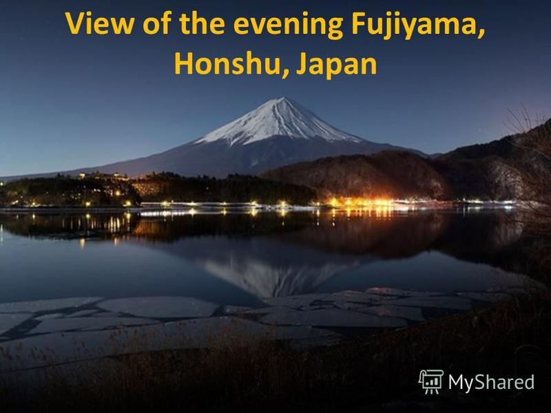 View of the evening Fujiyama, Honshu, Japan