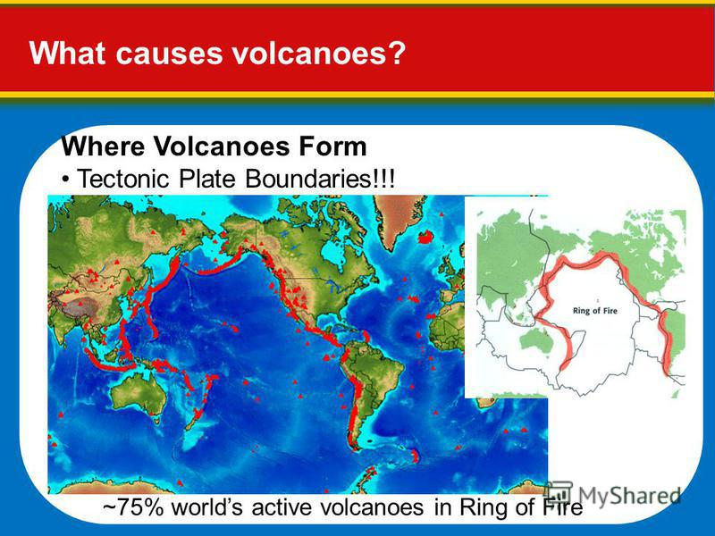 What causes volcanoes? Where Volcanoes Form Tectonic Plate Boundaries!!! ~75% worlds active volcanoes in Ring of Fire