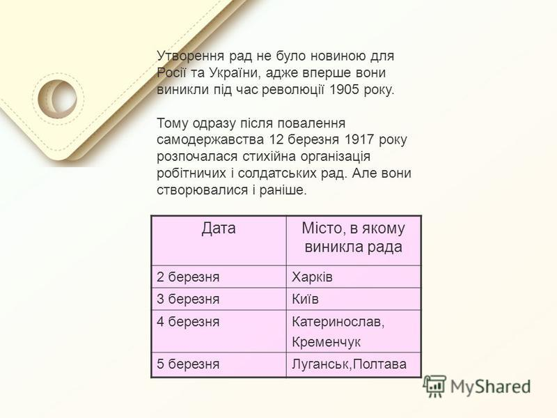 Утворення рад не було новиною для Росії та України, адже вперше вони виникли під час революції 1905 року. Тому одразу після повалення самодержавства 12 березня 1917 року розпочалася стихійна організація робітничих і солдатських рад. Але вони створюва