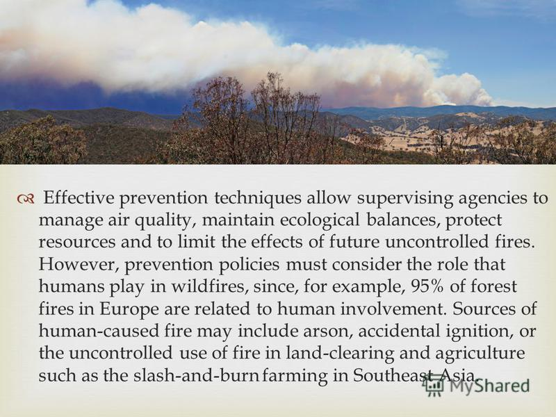 Effective prevention techniques allow supervising agencies to manage air quality, maintain ecological balances, protect resources and to limit the effects of future uncontrolled fires. However, prevention policies must consider the role that humans p