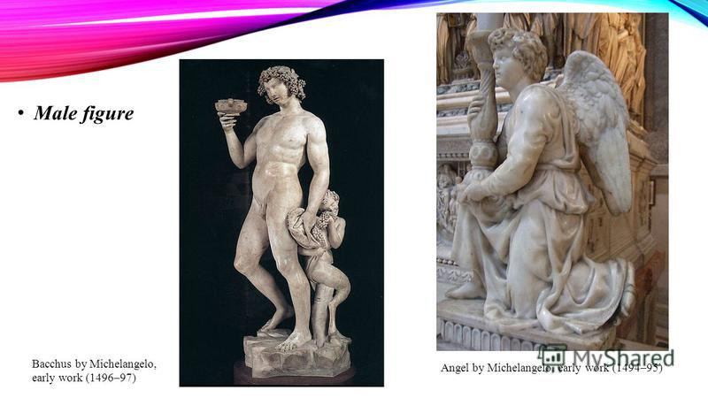Male figure Angel by Michelangelo, early work (1494–95) Bacchus by Michelangelo, early work (1496–97)