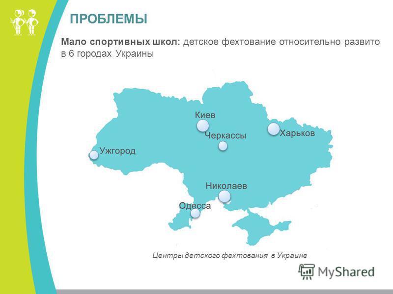 ПРОБЛЕМЫ Центры детского фехтования в Украине Мало спортивных школ: детское фехтование относительно развито в 6 городах Украины