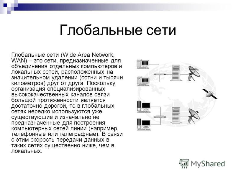 Глобальные сети Глобальные сети (Wide Area Network, WAN) – это сети, предназначенные для объединения отдельных компьютеров и локальных сетей, расположенных на значительном удалении (сотни и тысячи километров) друг от друга. Поскольку организация спец