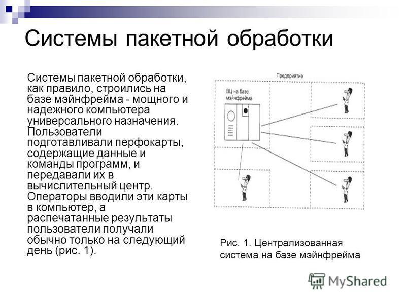 Системы пакетной обработки Системы пакетной обработки, как правило, строились на базе мэйнфрейма - мощного и надежного компьютера универсального назначения. Пользователи подготавливали перфокарты, содержащие данные и команды программ, и передавали их