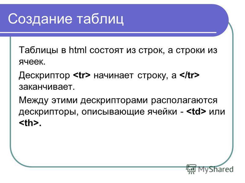 Таблицы в html состоят из строк, а строки из ячеек. Дескриптор начинает строку, а заканчивает. Между этими дескрипторами располагаются дескрипторы, описывающие ячейки - или.