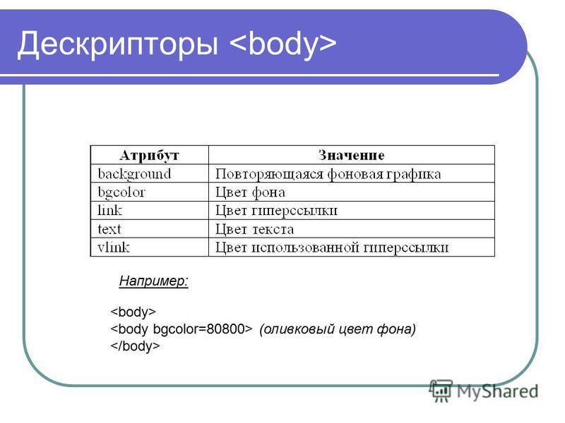 Дескрипторы (оливковый цвет фона) Например: