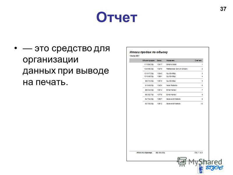 Отчет это средство для организации данных при выводе на печать. 37
