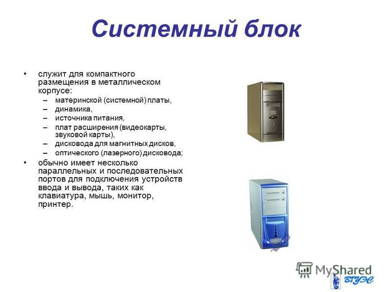 Системный блок служит для компактного размещения в металлическом корпусе: –материнской (системной) платы, –динамика, –источника питания, –плат расширения (видеокарты, звуковой карты), –дисковода для магнитных дисков, –оптического (лазерного) дисковод