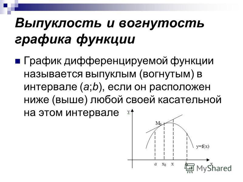 Выпуклость и вогнутость графика функции График дифференцируемой функции называется выпуклым (вогнутым) в интервале (a;b), если он расположен ниже (выше) любой своей касательной на этом интервале