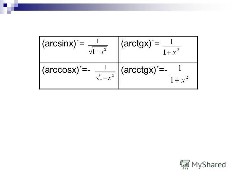 (arcsinx)´=(arctgx)´= (arccosx)´=-(arcctgx)´=-