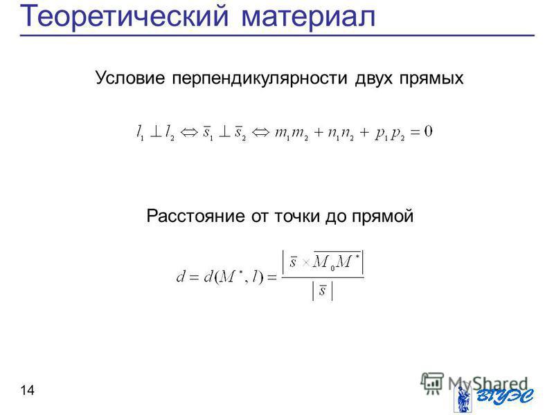 Теоретический материал 14 Расстояние от точки до прямой Условие перпендикулярности двух прямых
