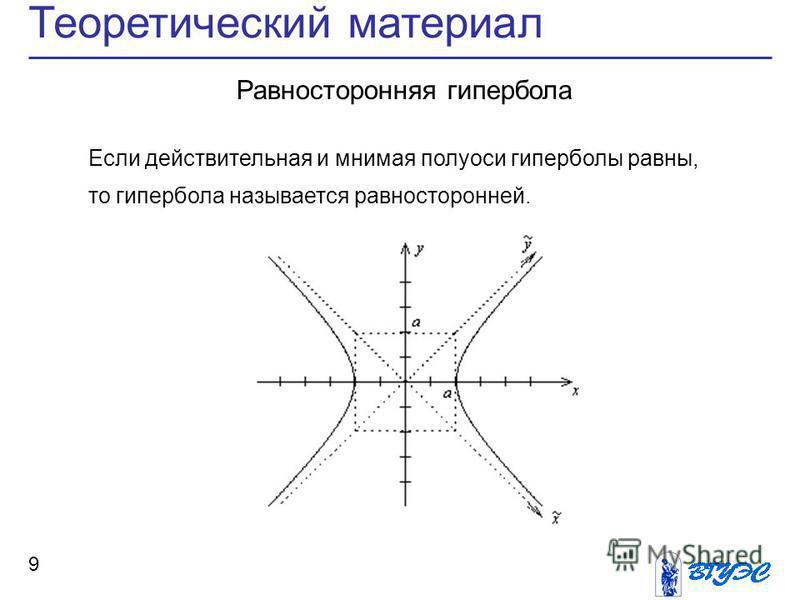 Теоретический материал 9 Равносторонняя гипербола Если действительная и мнимая полуоси гиперболы равны, то гипербола называется равносторонней.