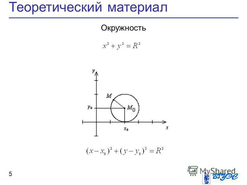 Теоретический материал 5 Окружность
