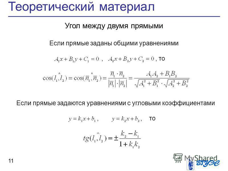 11 Теоретический материал Угол между двумя прямыми Если прямые заданы общими уравнениями,, то Если прямые задаются уравнениями с угловыми коэффициентами,, то