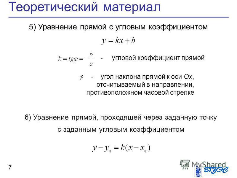 7 Теоретический материал 5) Уравнение прямой с угловым коэффициентом 6) Уравнение прямой, проходящей через заданную точку с заданным угловым коэффициентом - угловой коэффициент прямой - угол наклона прямой к оси Ox, отсчитываемый в направлении, проти