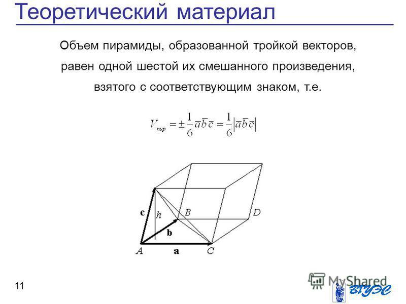 11 Теоретический материал Объем пирамиды, образованной тройкой векторов, равен одной шестой их смешанного произведения, взятого с соответствующим знаком, т.е.