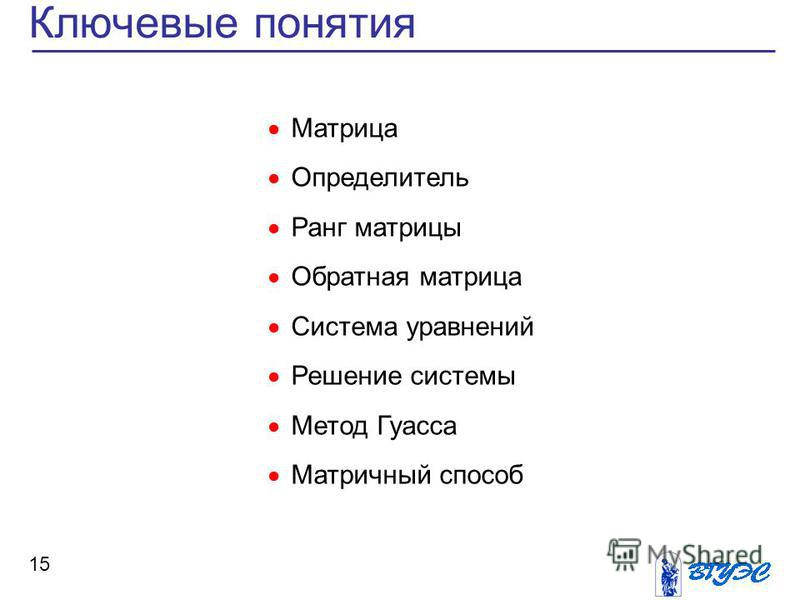 Ключевые понятия 15 Матрица Определитель Ранг матрицы Обратная матрица Система уравнений Решение системы Метод Гуасса Матричный способ