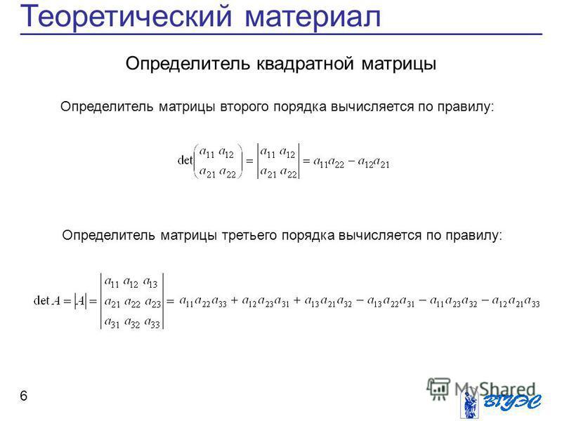 6 Теоретический материал Определитель квадратной матрицы Определитель матрицы второго порядка вычисляется по правилу: Определитель матрицы третьего порядка вычисляется по правилу:
