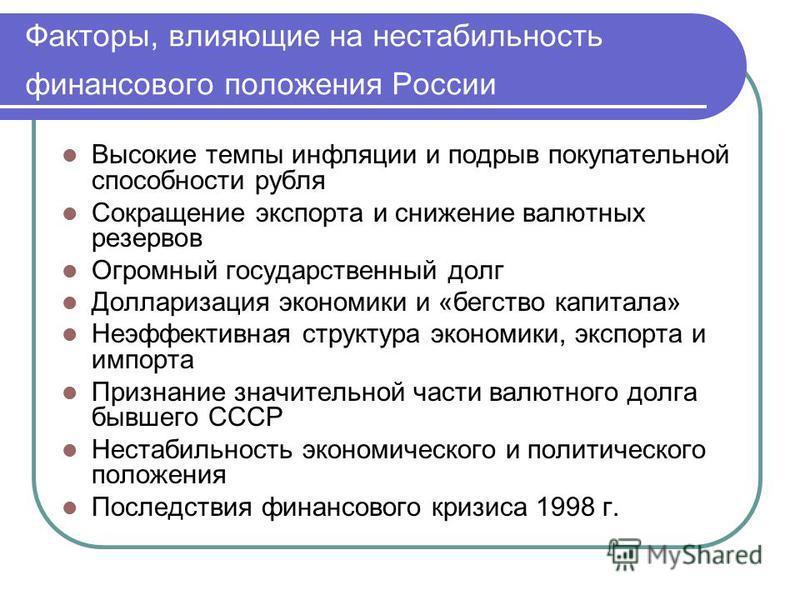 Факторы, влияющие на нестабильность финансового положения России Высокие темпы инфляции и подрыв покупательной способности рубля Сокращение экспорта и снижение валютных резервов Огромный государственный долг Долларизация экономики и «бегство капитала