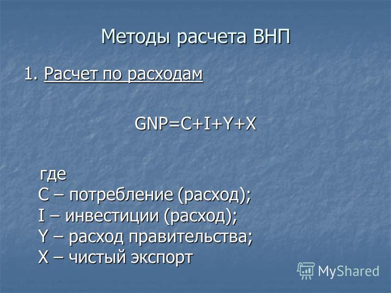 Методы расчета ВНП 1. Расчет по расходам GNP=C+I+Y+X где C – потребление (расход); I – инвестиции (расход); Y – расход правительства; X – чистый экспорт где C – потребление (расход); I – инвестиции (расход); Y – расход правительства; X – чистый экспо