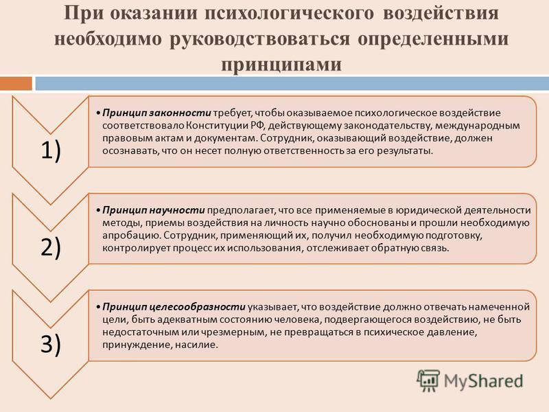 При оказании психологического воздействия необходимо руководствоваться определенными принципами 1) Принцип законности требует, чтобы оказываемое психологическое воздействие соответствовало Конституции РФ, действующему законодательству, международным
