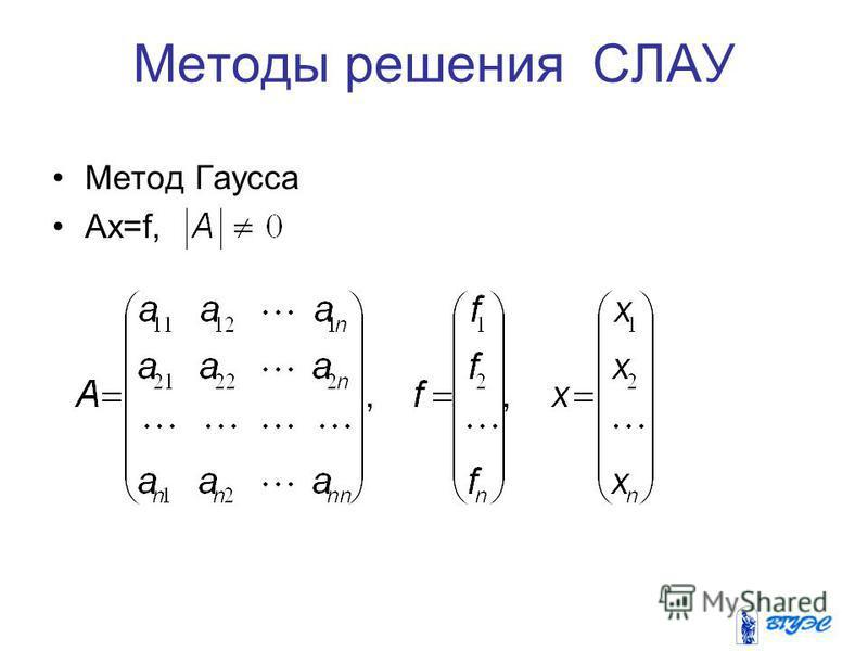 Методы решения СЛАУ Метод Гаусса Аx=f,