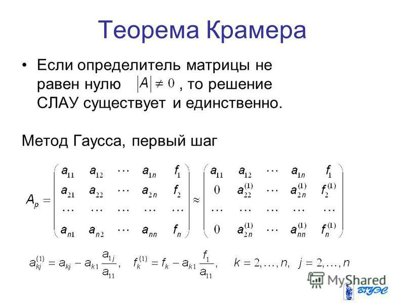 Теорема Крамера Если определитель матрицы не равен нулю, то решение СЛАУ существует и единственно. Метод Гаусса, первый шаг