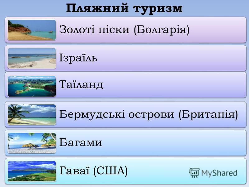Пляжний туризм Золоті піски (Болгарія) Ізраїль Таїланд Бермудські острови (Британія) Багами Гаваї (США)