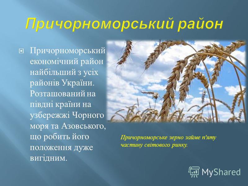 Причорноморський економічний район найбільший з усіх районів України. Розташований на півдні країни на узбережжі Чорного моря та Азовського, що робить його положення дуже вигідним. Причорноморське зерно займе п ' яту частину світового ринку.