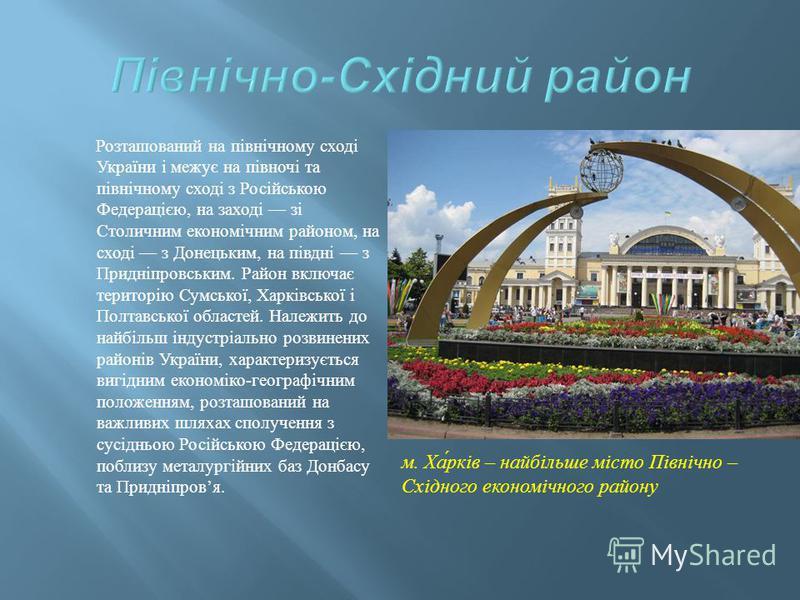 Розташований на північному сході України і межує на півночі та північному сході з Російською Федерацією, на заході зі Столичним економічним районом, на сході з Донецьким, на півдні з Придніпровським. Район включає територію Сумської, Харківської і По