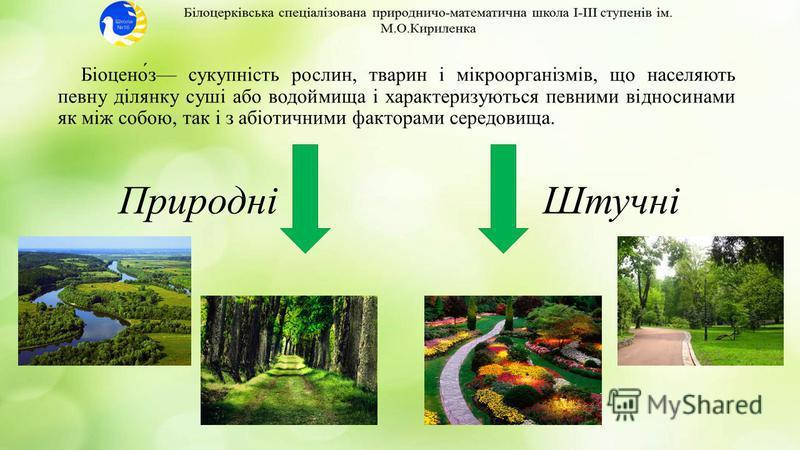 Біоцено́з сукупність рослин, тварин і мікроорганізмів, що населяють певну ділянку суші або водоймища і характеризуються певними відносинами як між собою, так і з абіотичними факторами середовища. ПриродніШтучні