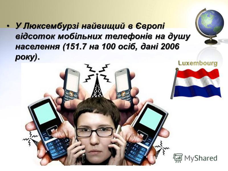 У Люксембурзі найвищий в Європі відсоток мобільних телефонів на душу населення (151.7 на 100 осіб, дані 2006 року).У Люксембурзі найвищий в Європі відсоток мобільних телефонів на душу населення (151.7 на 100 осіб, дані 2006 року).