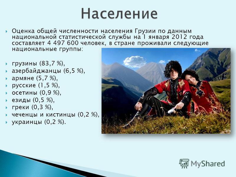 Оценка общей численности населения Грузии по данным национальной статистической службы на 1 января 2012 года составляет 4 497 600 человек, в стране проживали следующие национальные группы: грузины (83,7 %), азербайджанцы (6,5 %), армяне (5,7 %), русс