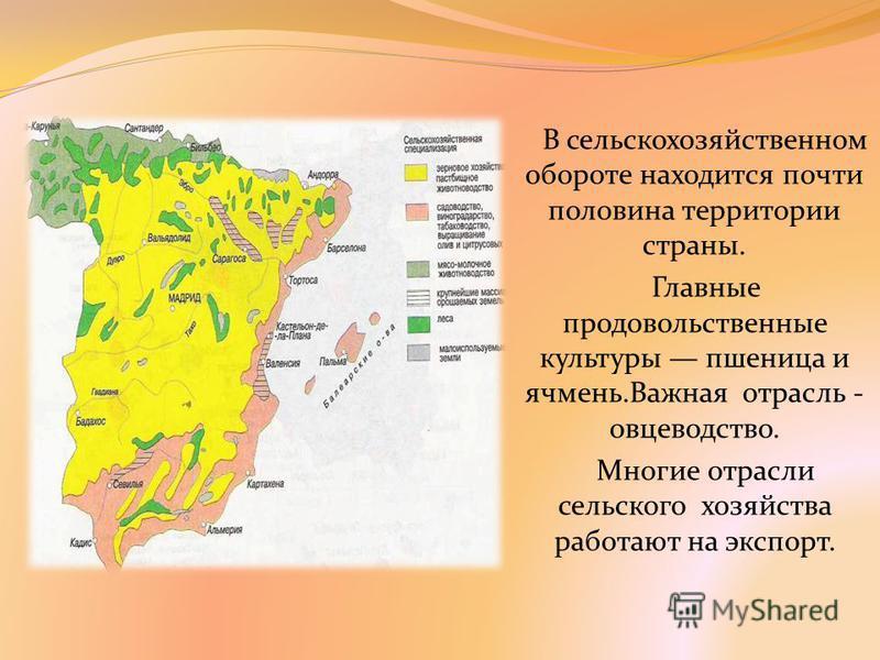 В сельскохозяйственном обороте находится почти половина территории страны. Главные продовольственные культуры пшеница и ячмень.Важная отрасль - овцеводство. Многие отрасли сельского хозяйства работают на экспорт.