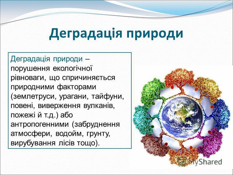 Деградація природи Деградація природи – порушення екологічної рівноваги, що спричиняється природними факторами (землетруси, урагани, тайфуни, повені, виверження вулканів, пожежі й т.д.) або антропогенними (забруднення атмосфери, водойм, грунту, вируб