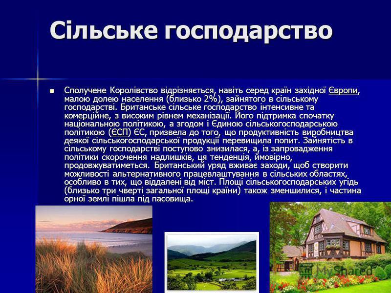 Сільське господарство Сполучене Королівство відрізняється, навіть серед країн західної Європи, малою долею населення (близько 2%), зайнятого в сільському господарстві. Британське сільське господарство інтенсивне та комерційне, з високим рівнем механі