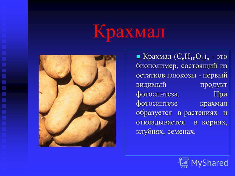 Крахмал Крахмал (C 6 Н 10 О 5 ) n - это биополимер, состоящий из остатков глюкозы - первый видимый продукт фотосинтеза. При фотосинтезе крахмал образуется в растениях и откладывается в корнях, клубнях, семенах.