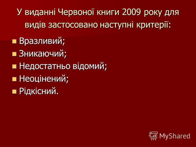 У виданні Червоної книги 2009 року для видів застосовано наступні критерії: Вразливий; Вразливий; Зникаючий; Зникаючий; Недостатньо відомий; Недостатньо відомий; Неоцінений; Неоцінений; Рідкісний. Рідкісний.