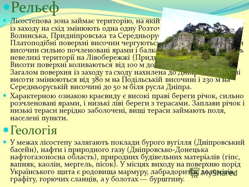 Український лісостеп Український лісостеп ділянка європейської частини природної зони лісостепу в межах України. Широка смуга лісостепу простягається з південного заходу від кордону з Молдовою на північний схід до кордону з Росією через центральну ча