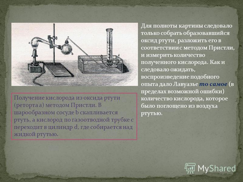 Для полноты картины следовало только собрать образовавшийся оксид ртути, разложить его в соответствии с методом Пристли, и измерить количество полученного кислорода. Как и следовало ожидать, воспроизведение подобного опыта дало Лавуазье то самое (в п