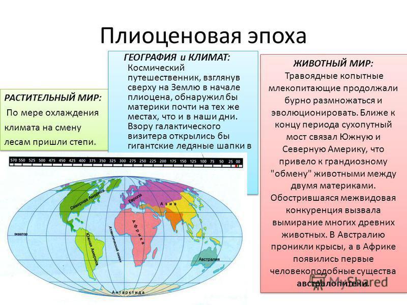 Плиоценовая эпоха РАСТИТЕЛЬНЫЙ МИР: По мере охлаждения климата на смену лесам пришли степи. РАСТИТЕЛЬНЫЙ МИР: По мере охлаждения климата на смену лесам пришли степи. ГЕОГРАФИЯ и КЛИМАТ: Космический путешественник, взглянув сверху на Землю в начале пл